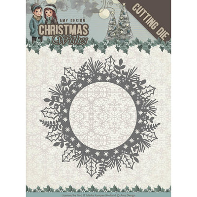 ADD10149 - Dies - Amy Design - Christmas Wishes - Holly Wreath 11x11cm