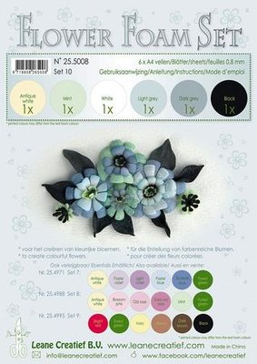 LeCrea - Flower Foam Set 10, 6 sh A4 0.8mm zwart, grijs 25.5008