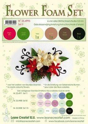 LeCrea - Flower Foam Set 9, 6 sh A4 0.8mm bruin, rood, groen 25.4995