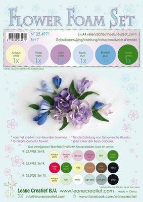 LeCrea - Flower Foam Set 7, 6 sh A4 0.8mm pastel blauw/viol. 25.4971