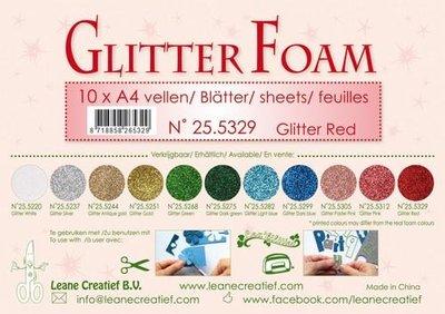 LeCrea - Glitter foam 10 vel A4 - rood 25.5329