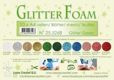 LeCrea - Glitter foam 10 vel A4 - groen 25.5268