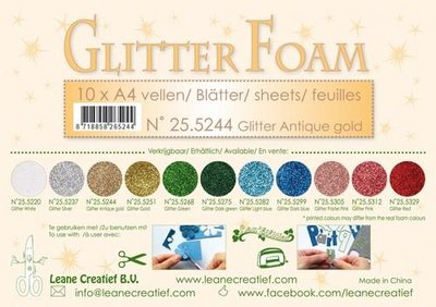 LeCrea - Glitter foam 10 vel A4 - antiek goud 25.5244