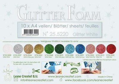 LeCrea - Glitter foam 10 vel A4 - wit 25.5220