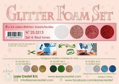 LeCrea - Glitter Foam Set 4 - 4 vl A4 red / wit 25.5213
