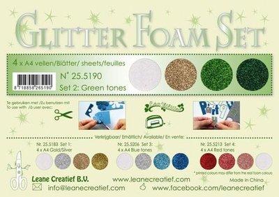 LeCrea - Glitter Foam Set 2 - 4 vl A4 groen / goud / zilver 25.5190