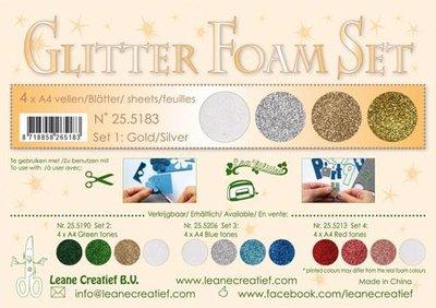 LeCrea - Glitter Foam Set 1 - 4 vl A4 goud / zilver 25.5183