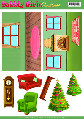 CD11199 – Background Sheets - Yvonne Creations - Bubbly Girls Christmas - 1