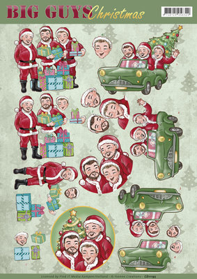 CD11195 – 3D Knipvel - Yvonne Creations - Big Guys Christmas - Santa's