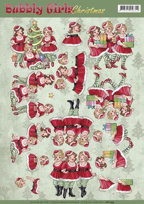 CD11194 – 3D Knipvel - Yvonne Creations - Bubbly Girls Christmas - Christmas Dresses