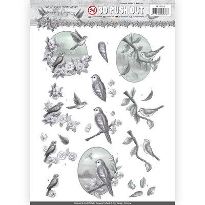 SB10314 – 3D Pushout - Amy Design - Words of Sympathy - Sympathy Swallows