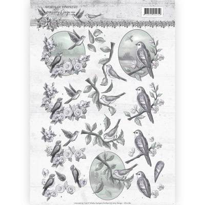 CD11180 – 3D knipvel - Amy Design - Words of Sympathy - Sympathy Swallows