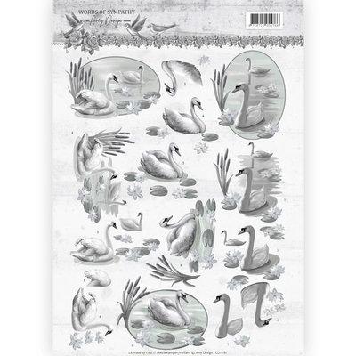 CD11181 – 3D knipvel - Amy Design - Words of Sympathy - Sympathy Swans