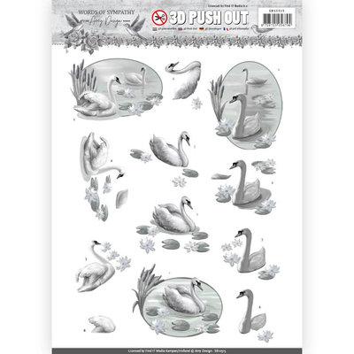 SB10315 – 3D Pushout - Amy Design - Words of Sympathy - Sympathy Swans