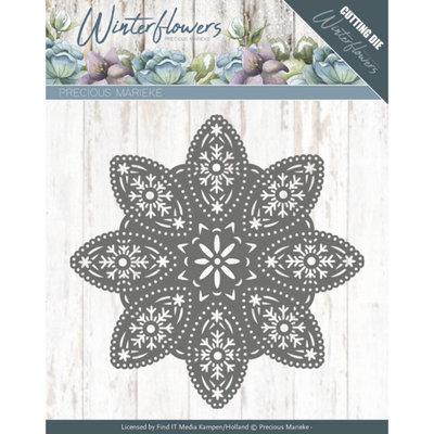 PM10140 – Dies - Precious Marieke - Winter Flowers - Floral Snowflake