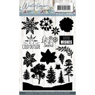 PMCS10039 – Clearstamp - Precious Marieke - Winter Flowers