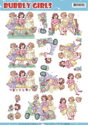 CD11214 - 3D Knipvel Yvonne Creations - Bubbly Girls - Spring