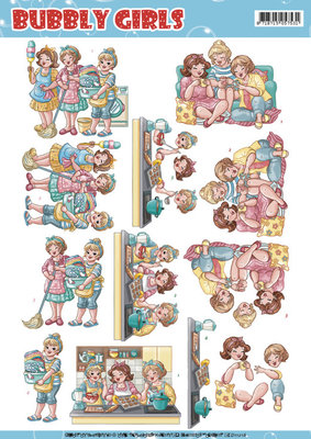 CD11216 - 3D Knipvel Yvonne Creations - Bubbly Girls - Round the house