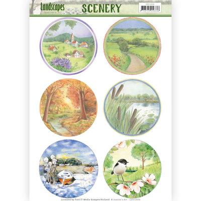 CDS10006 – Die Cut Topper - Scenery - Jeanine's Art - Landscapes - Landscape Circle