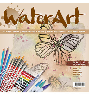 Water Art - Aquarelpapier 12 sheets / 30.5 x 30.5cm / 185 grs