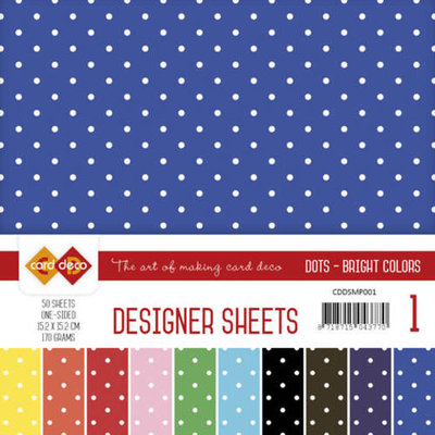 CDDSMP001 Designer Sheets Mega Pack 1 Bright Colors - 50 vel - 15,2x15,2cm