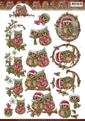 CD11177 - 3D Knipvel - Yvonne Creations - Christmas Owls