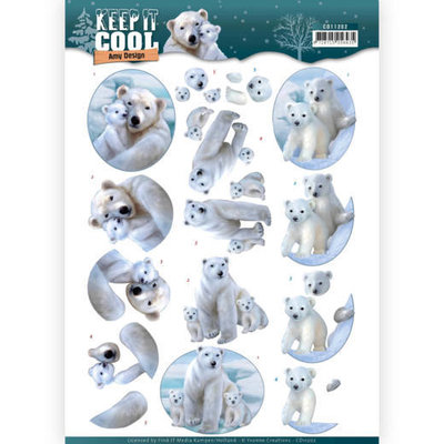 CD11202 3D knipvel - Amy Design - Keep it Cool - Cool Polar Bears