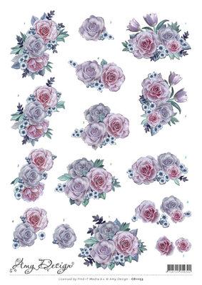 CD11153 - 3D Knipvel - Amy Design - Purple Flowers