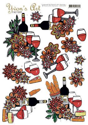 CD11235 - 3D Knipvel - Yvon's Art Factory - Wine Feast