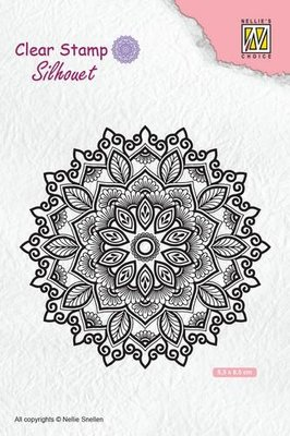 Nellie's Choice Silhouette Clear Stamps Mandala 4 SIL043 85x85mm