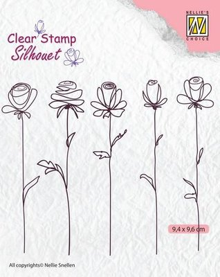 Nellie's Choice Silhouette Clear Stamps 5 bloemen SIL042 94x96mm