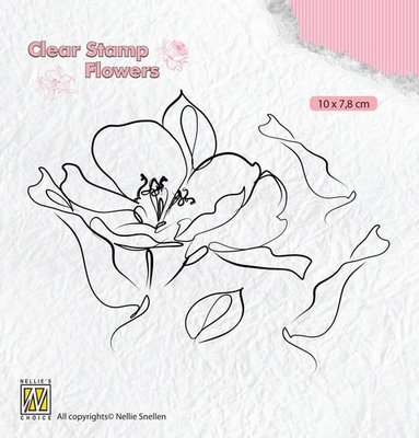 Nellie's Choice Silhouette Clear Stamps bloemen wilde roos FLO018 100x78mm