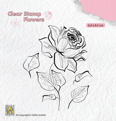 Nellie's Choice Silhouette Clear Stamps bloemen roos FLO017 69x85mm