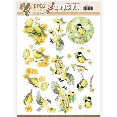 SB10319 3D Pushout - Jeanine's Art - Birds and Flowers - Yellow birds