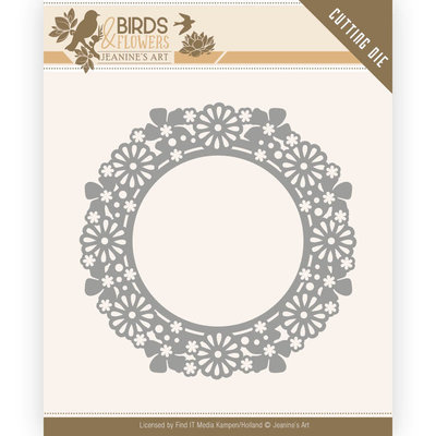 JAD10059 Dies - Jeanine's Art - Birds and Flowers - Flower Circle – 8,4x8,4cm