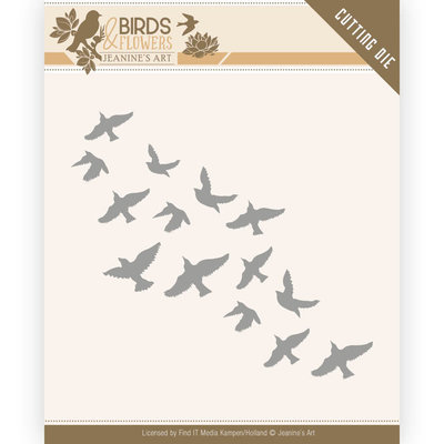 JAD10061 Dies - Jeanine's Art - Birds and Flowers - Flock of Birds 9,8x4,7cm