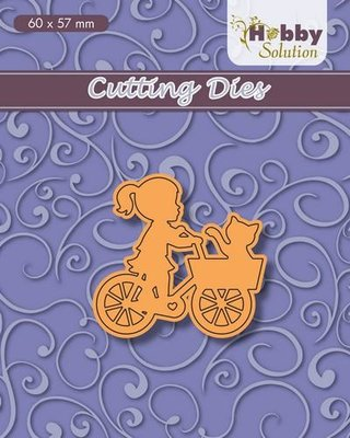 Nellies Choice Hobby solution Die Children meisjes op fiets HSFD030 60x57 mm