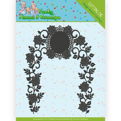 YCD10158 Dies - Yvonne Creations - Funky Nanna's - Floral Arch – 10x12,5cm