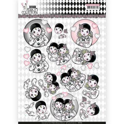 CD11256 3D Knipvel - Yvonne Creations- Pretty Pierrot 2 - Thinking of You
