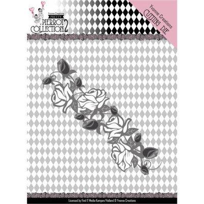 YCD10162 Dies - Yvonne Creations- Pretty Pierrot 2 - Rose Border – 4x12cm