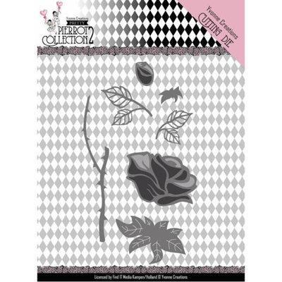 YCD10163 Dies - Yvonne Creations- Pretty Pierrot 2 – Rose – 12,7x12,7cm