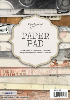 Studio Light Paper Pad A5 36 vel 12 designs nr 108 PPSL108