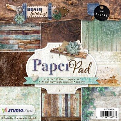 Studio Light Paper pad 36 vel Denim Saturdays nr 104 PPDEN104 15x15cm