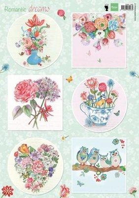 Marianne Design 3D Knipvellen Romantic Dreams - Groen EWK1265 A4
