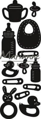 Marianne Design Craftable Punch die Baby artikelen CR1456 8x16 cm