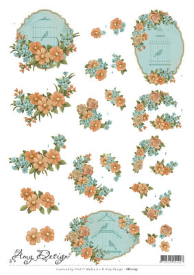 CD11127 3D Knipvel - Amy Design - Vintage birds and flowers