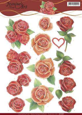 CD11091 3D Knipvel - Jeanine's Art - Roses