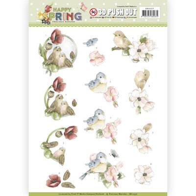 SB10327 3D Pushout - Precious Marieke - Happy Spring - Happy Birds