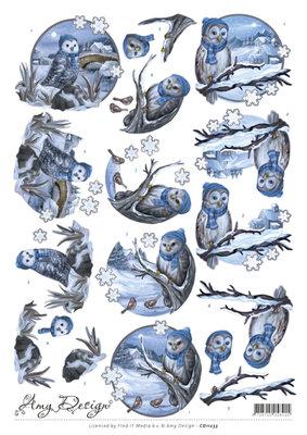 cd11233 3D Knipvel - Amy Design - Winter Owls