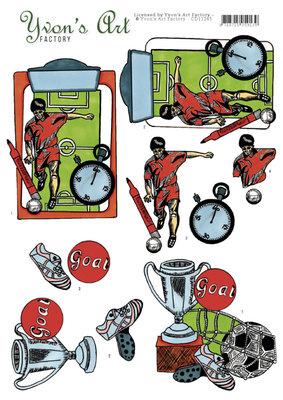 CD11245 - 3D Knipvel - Yvon's Art - Football victory